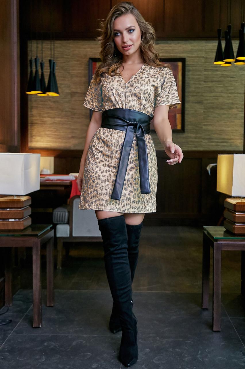Коктейльное платье–туника с леопардовым принтом 1269 (44–50р) в расцветках, фото 1