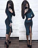 Вечернее платье ниже колена с разрезом на ноге, фото 1