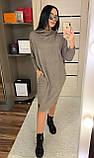 Платье свободного кроя, рукав летучая мышь с капюшоном / ангора / Украина, фото 3