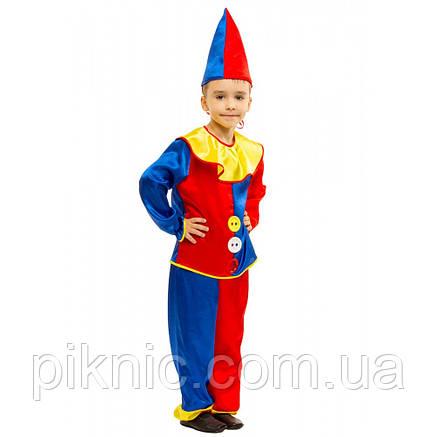 Костюм Петрушка 4,5,6,7,8 лет Детский новогодний маскарадный костюм Арлекин Скоморох для мальчиков, фото 2