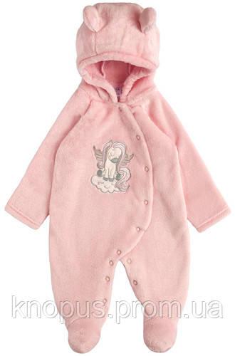 Махровый комбинезон  для девочки, розовый, Гарден беби, размеры52-68