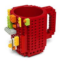 Детская чашка Build On для игры с Lego | Кружка конструктор для Лего Красная