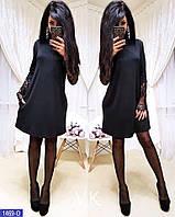 Платье свободного кроя с карманами + рукав с французским кружевом