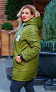 Женская зимняя куртка длинная размер 52-66 № 1163, фото 3