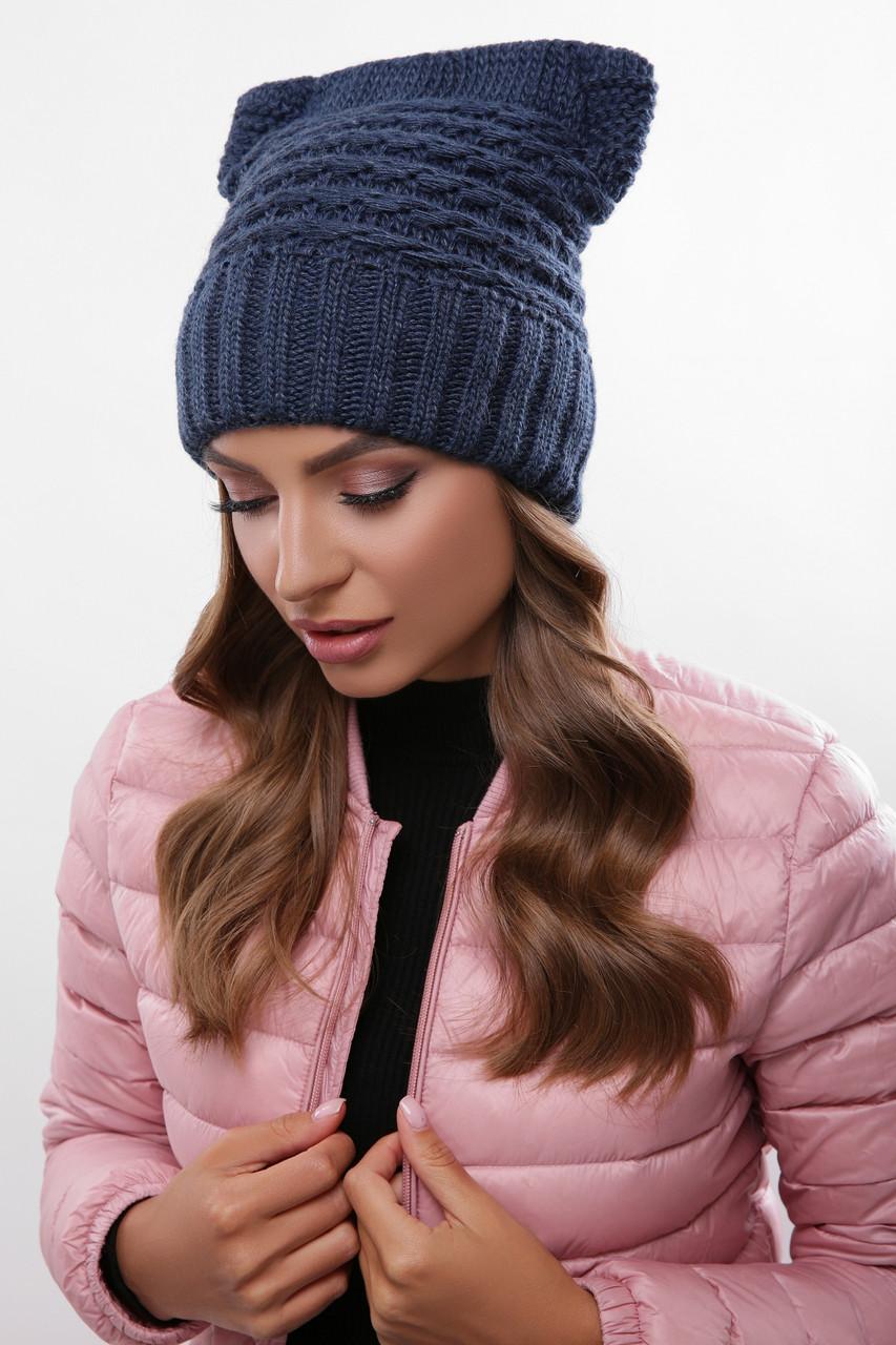 Вязаные женские шапки Ляля-6 нить шерсть-акрил