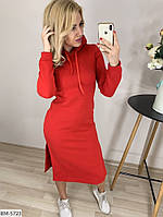 Теплое платье футляр Миди на флиссе Капюшон распорки, фото 1