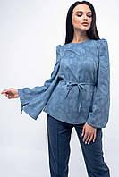 Стильная женская блузка из льна с длинным рукавом 42-52 размеры голубая