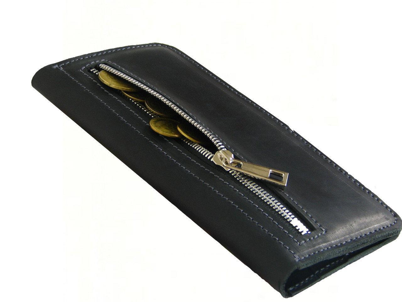 Мужской кожаный кошелек купюрник GS черный