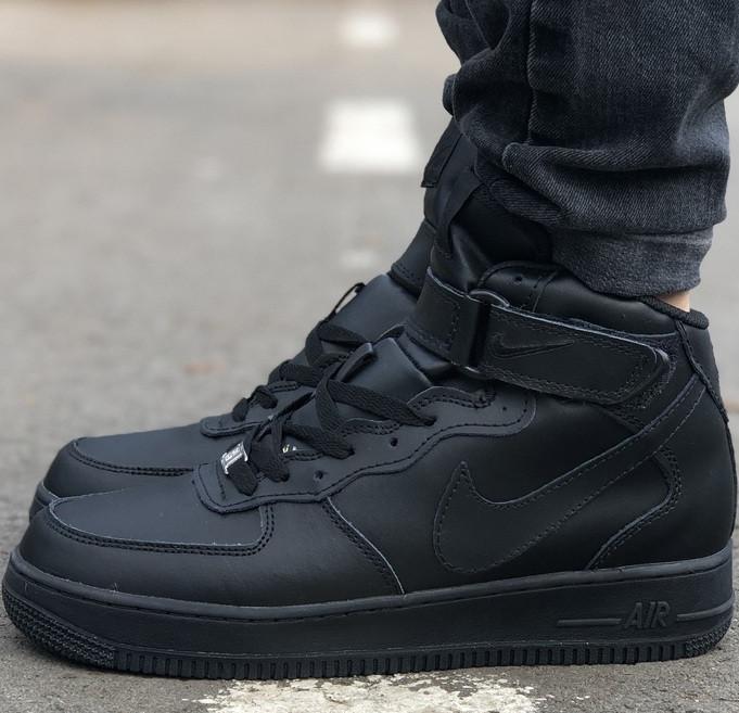 Зимние мужские кроссовки Nike Air Force Mid Winter Black с мехом теплые. Живое фото(Реплика ААА+)