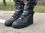 Зимние мужские кроссовки Nike Air Force Mid Winter Black с мехом теплые. Живое фото(Реплика ААА+), фото 3