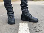 Зимние мужские кроссовки Nike Air Force Mid Winter Black с мехом теплые. Живое фото(Реплика ААА+), фото 6
