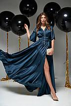 Женское коктейльное шелковое платье-макси с разрезом (Ариада jd), фото 3