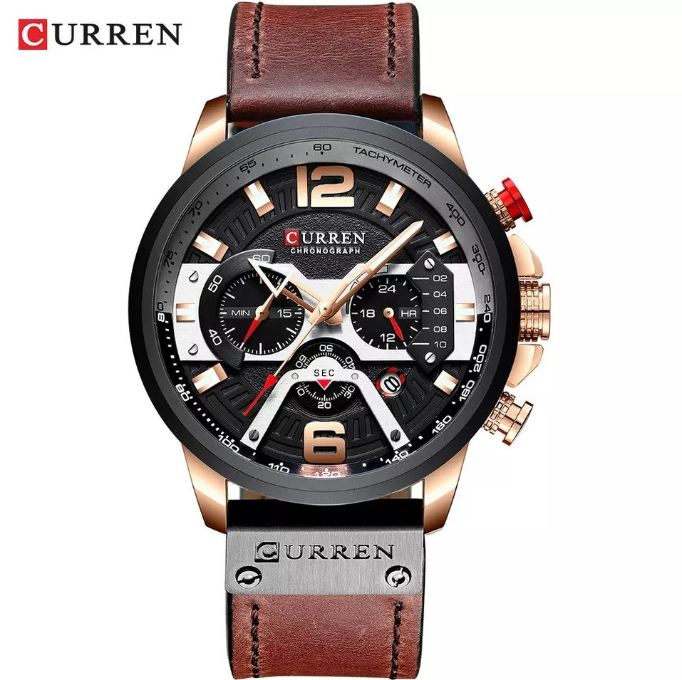 Чоловічі стильні водонепроникні годинники CURREN 8329 Rose Gold Black