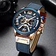 Чоловічі стильні водонепроникні годинники CURREN 8329 Rose Gold Black, фото 2