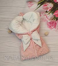 """Зимний плюшевый конверт-одеяло на выписку """"Шиншила"""", конверт на выписку со съемным уголком, фото 3"""