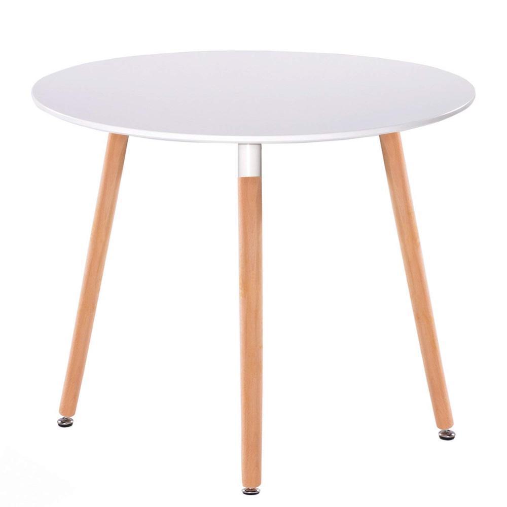 Стол обеденный Нолас дерево бук диаметр 80 см цвет белый Grupo SDM