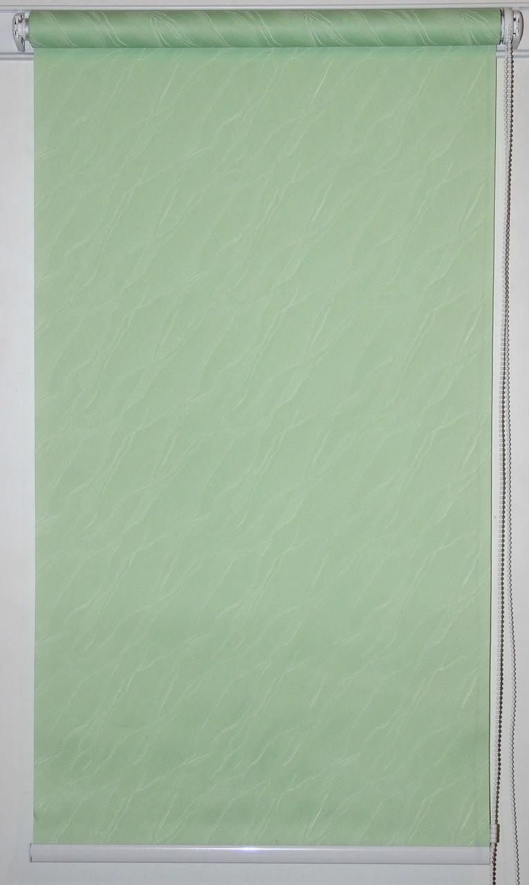 Готовые рулонные шторы 1000*1500 Ткань Вода 2073 Зелёный
