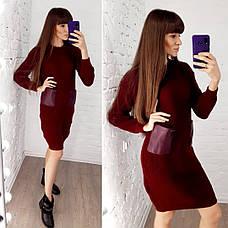 Женское вязанное платье с кожаными карманами, фото 3