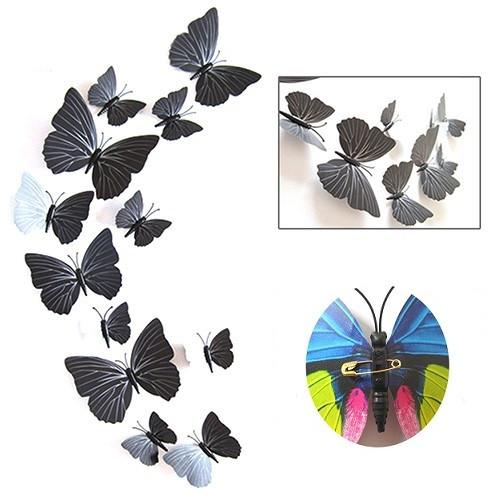 (12 шт) Набор бабочек 3D на булавках, ЧЕРНЫЕ