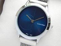 Наручные часы копия Calvin Klein (Кельвин Кляйн), серебро с синим, сетчатый браслет,на магните, CW457
