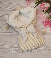 """Зимний плюшевый конверт-одеяло на выписку """"Шиншила"""", конверт на выписку со съемным уголком, фото 2"""