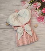 """Зимовий плюшевий конверт-ковдру на виписку """"Шиншила"""", конверт на виписку зі знімним куточком"""