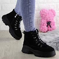 Женские зимние ботинки на шнуровке Hank черные