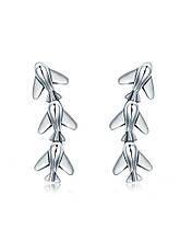 Серебряные серьги-гвоздики Шесть самолётов
