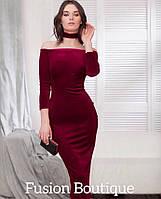 Женское вечернее облегающее платье с чокером и открытыми плечами чёрный темно-синий бордо 42-44 44-46, фото 1