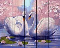 Картина по номерам 40х50 по дереву Пара лебедей, Rainbow Art (GXT9009)