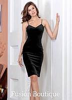 Женское вечернее платье на бретельках бархат  черный бордо темно-синий 42-44 44-46, фото 1