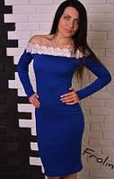 Платье футляр Миди с открытыми плечами  + кружево Лилия, фото 1