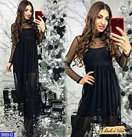 Платье майка мини + платье макси сетка в горошек комплект двойка, фото 1