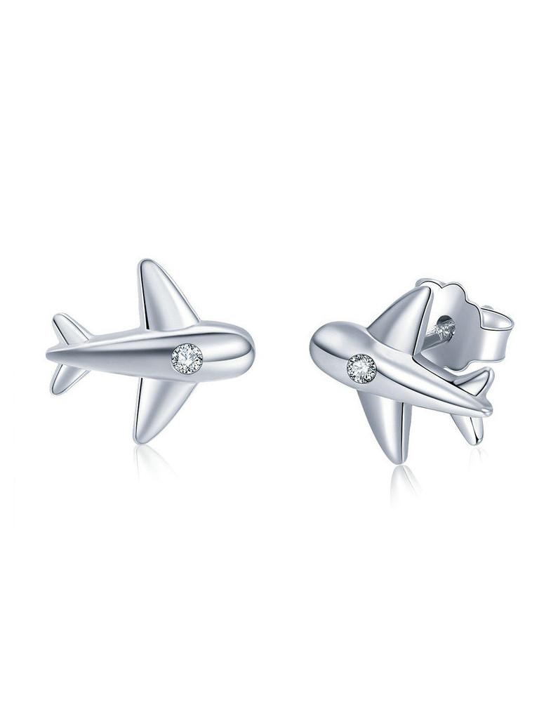 Срібні сережки-гвоздики Літак з цирконієм