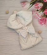 """Зимовий плюшевий конверт-ковдру на виписку """"Минки"""", конверт на виписку з пологового будинку"""