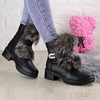 Женские кожаные зимние ботинки с мехом Butterfly