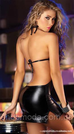 Латексное платье на шнуровке с открытой спиной, фото 2