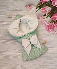 """Зимний плюшевый конверт-одеяло на выписку """"Минки"""", конверт на выписку из роддома, фото 3"""