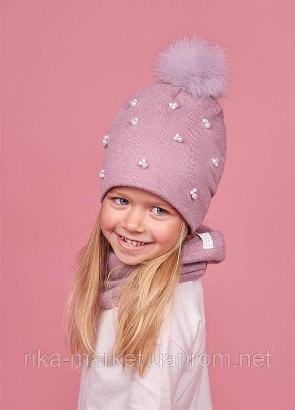 Зимний набор шапка и хомут для девочки, Дембохаус. Аден, от 2 до 5 лет