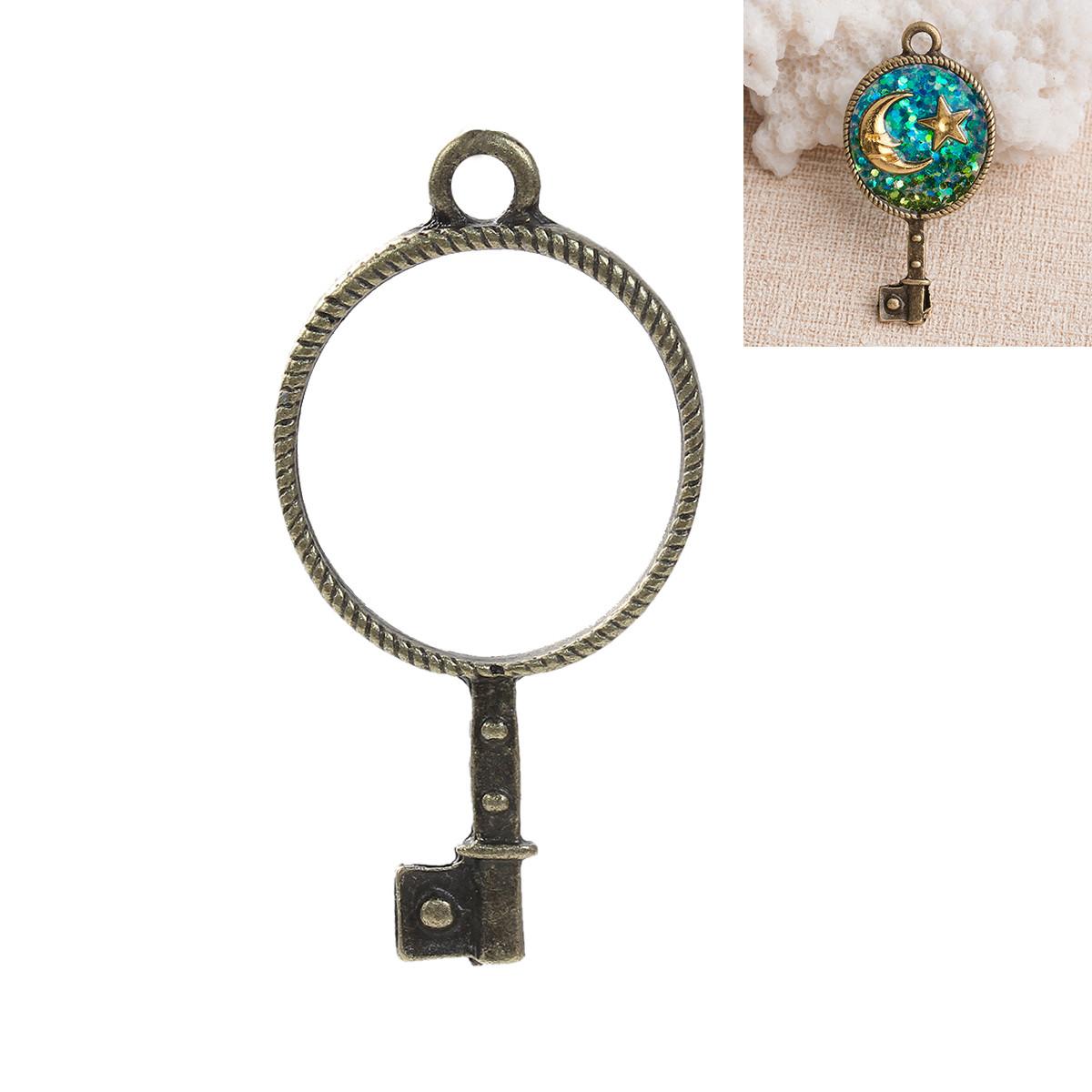 """Підвіска """" Ключ """", Коло, Рамка для заливки епоксидної смоли, Антична бронза, 44 мм x 22 мм"""