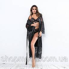 Длинный атласный халат, фото 2