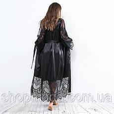 Длинный атласный халат размер S, фото 2