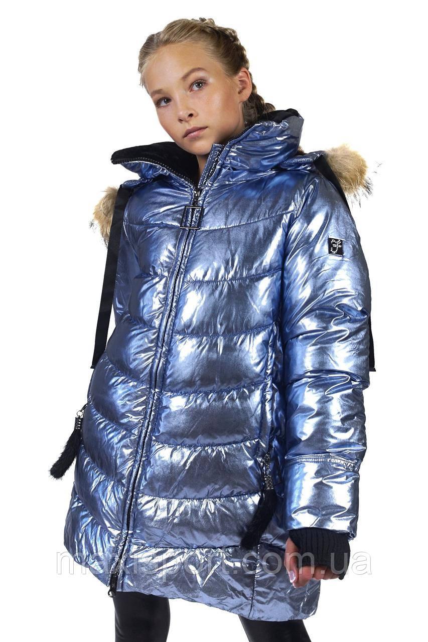 Детское пальто для девочек Freever (4404) Голубой, 128