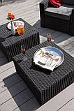 Стіл садовий вуличний Allibert California Coffee Table Graphite ( графіт ) з штучного ротанга, фото 3
