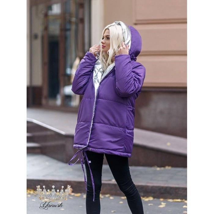 Объемная куртка зимняя двухсторонняя женская металик Аляска 477 р 42-56, фото 1