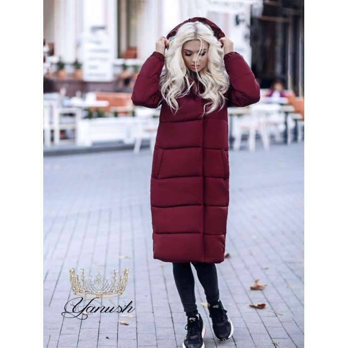 Пальто зимнее женское с капюшоном на синтепоне 7265, фото 1