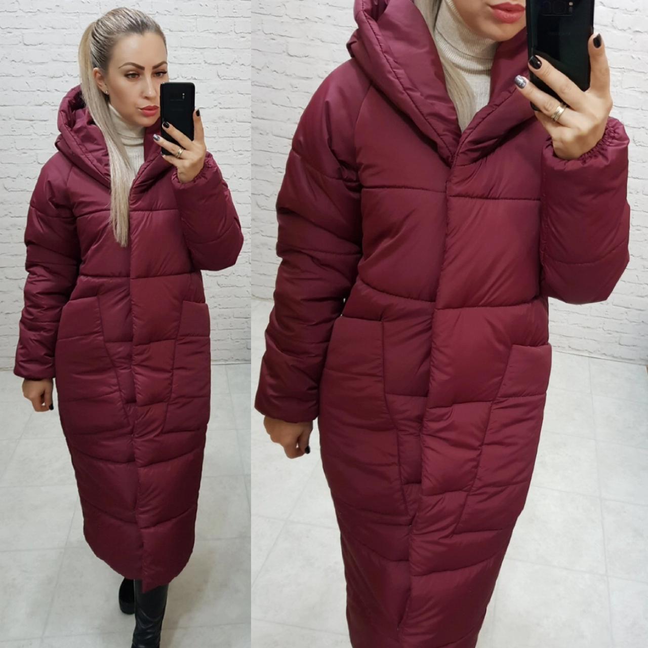 Пальто курка кокон Oversize зимова, артикул 500, колір матовий бордовий