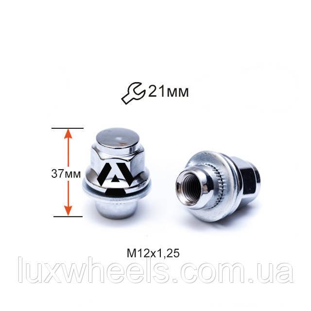 Гайка колісна A723844 М12х1,25х37мм Прессшайба (Nissan, Infiniti) Закрита Хром Ключ 21