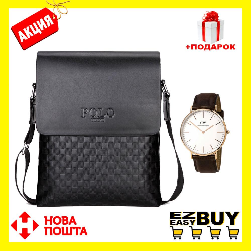 Мужская сумка через плечо Polo Videng Paris Барсетка Сумка-планшет+Часы в Подарок. Оригинал