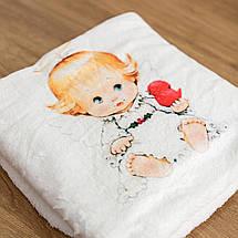 Крижмо для дитини на хрещення з малюнком Ангелочок мікрофібра, фото 2